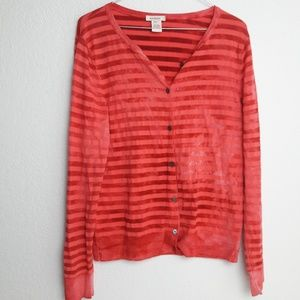 Sundance Red Wool Blend Striped Cardigan Sweater M
